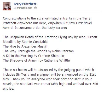 Terry Pratchett Award shortlist: Jean Burdett, Sophie Constable, Alexander Maskill, Robin Pearson, Graeme Shimmin and Catherine Whittle