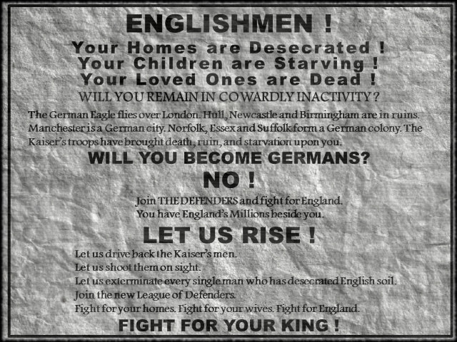 """Englishmen Rise!"" Poster from Spies of the Kaiser by William Le Queux"