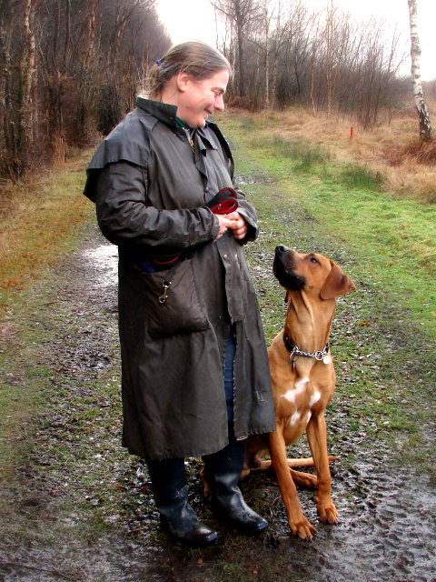 Hazel Shimmin, Dog Trainer and Behaviour Advisor in Cheshire with her dog, Duke.